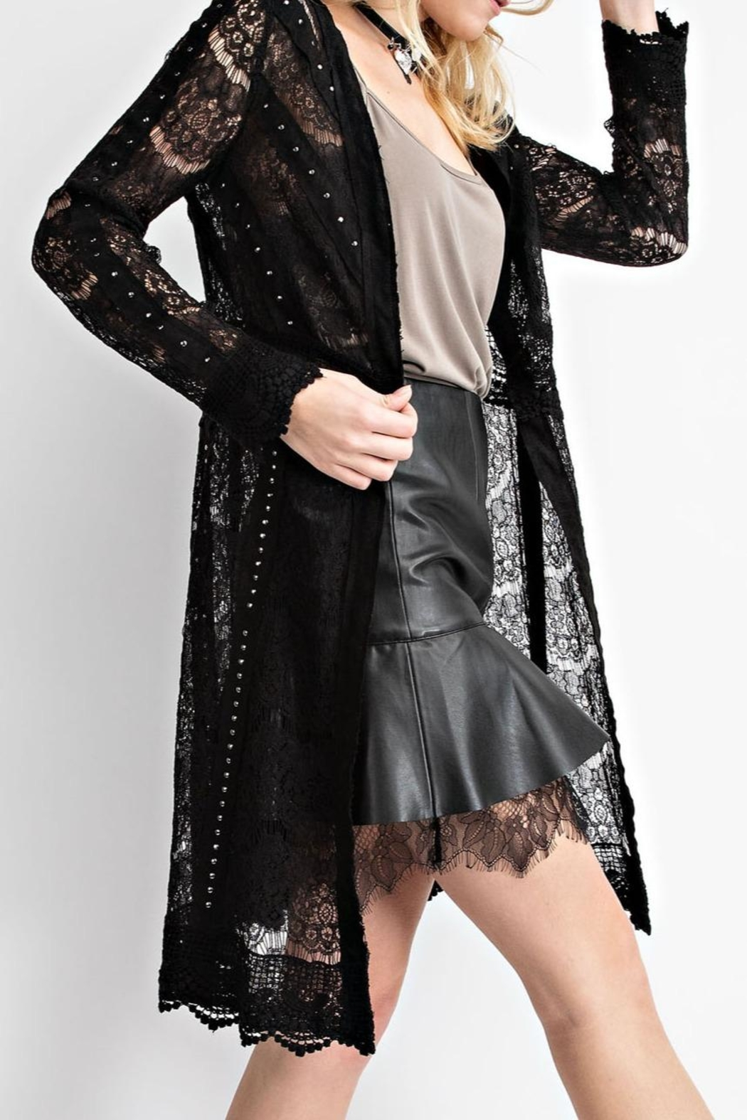 Vocal Apparel Studded Suede Lace-Jacket - Side Cropped Image