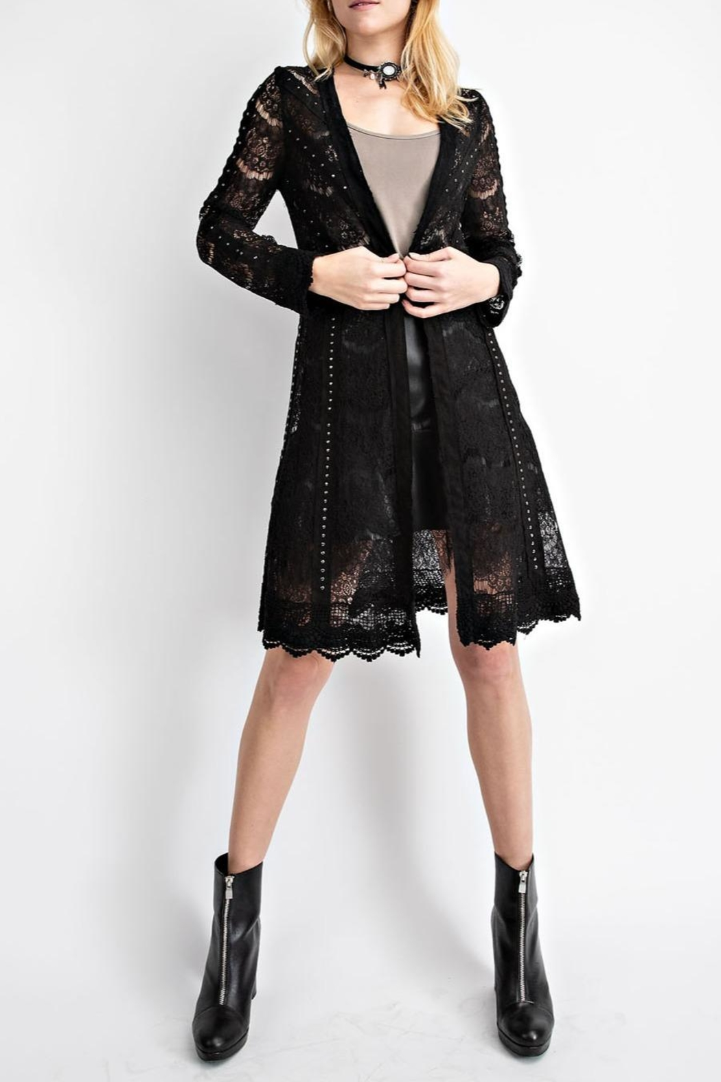 Vocal Apparel Studded Suede Lace-Jacket - Main Image