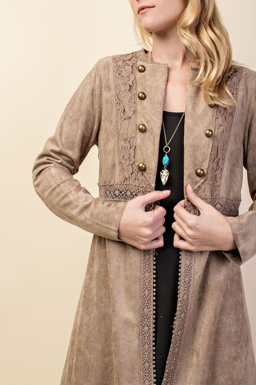 Vocal Apparel Suede Duster Jacket - Side Cropped Image