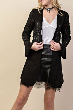 Shoptiques Product: Suede & Lace Embroidery-Jacket