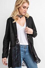 Vocal Apparel Suede Long Sleeve Jacket With Lace - Product Mini Image