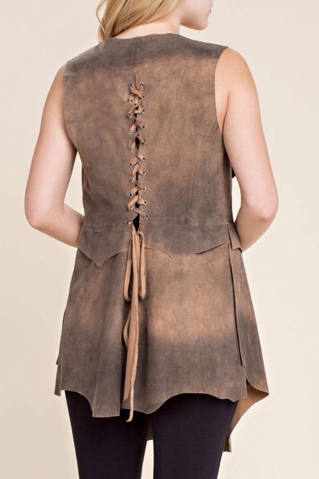 Vocal USA Faux Suede Vest - Front Full Image