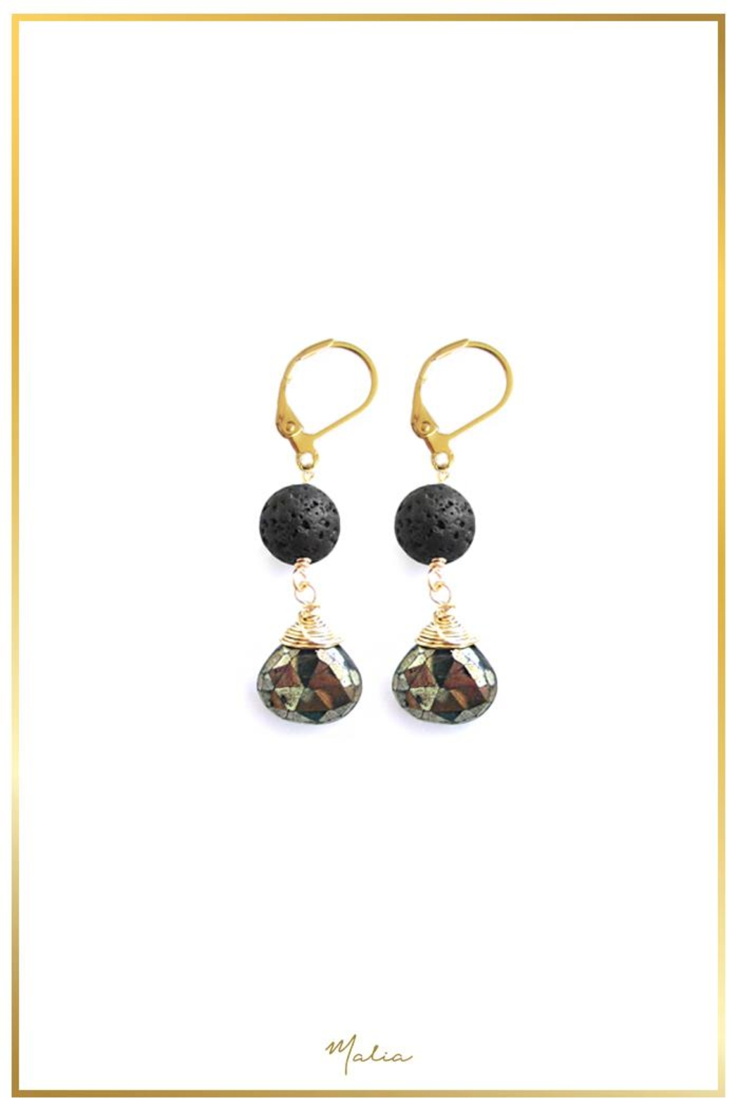 Malia Jewelry Volcanic-Stone Pyrite Earrings - Main Image