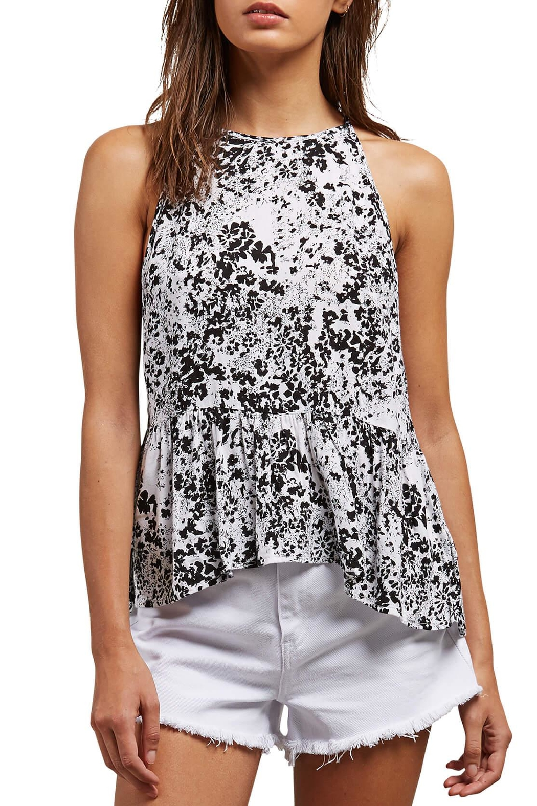 Volcom Black Floral Tank - Front Cropped Image