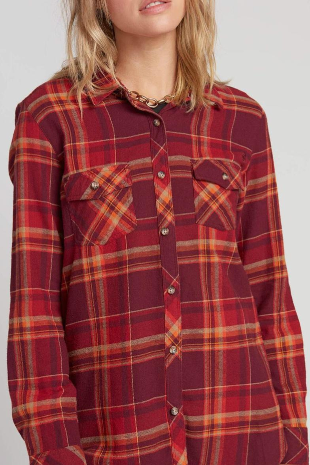 Volcom Multicolored Flannel - Side Cropped Image
