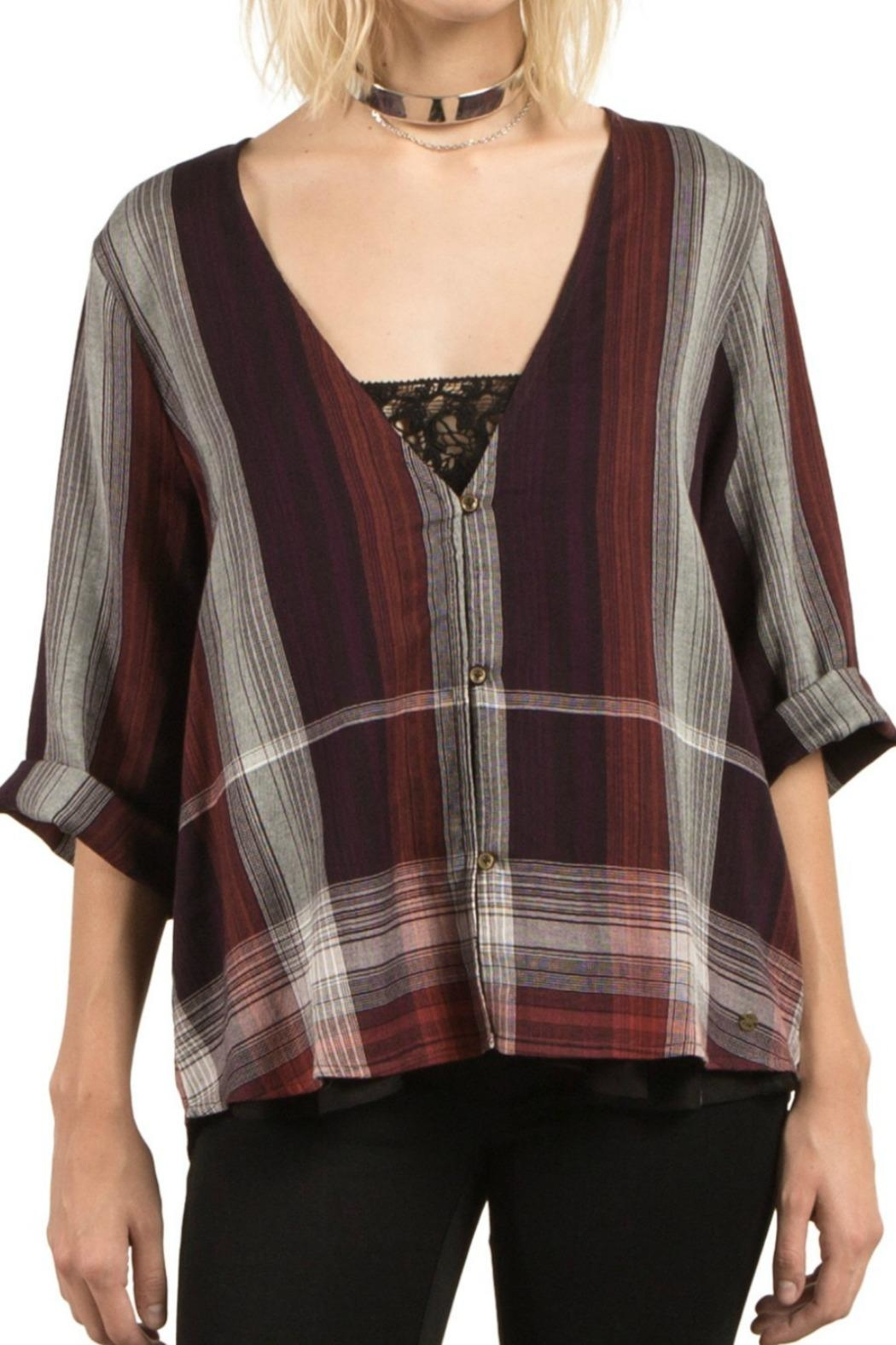 Volcom Plaid Throw Top - Front Cropped Image
