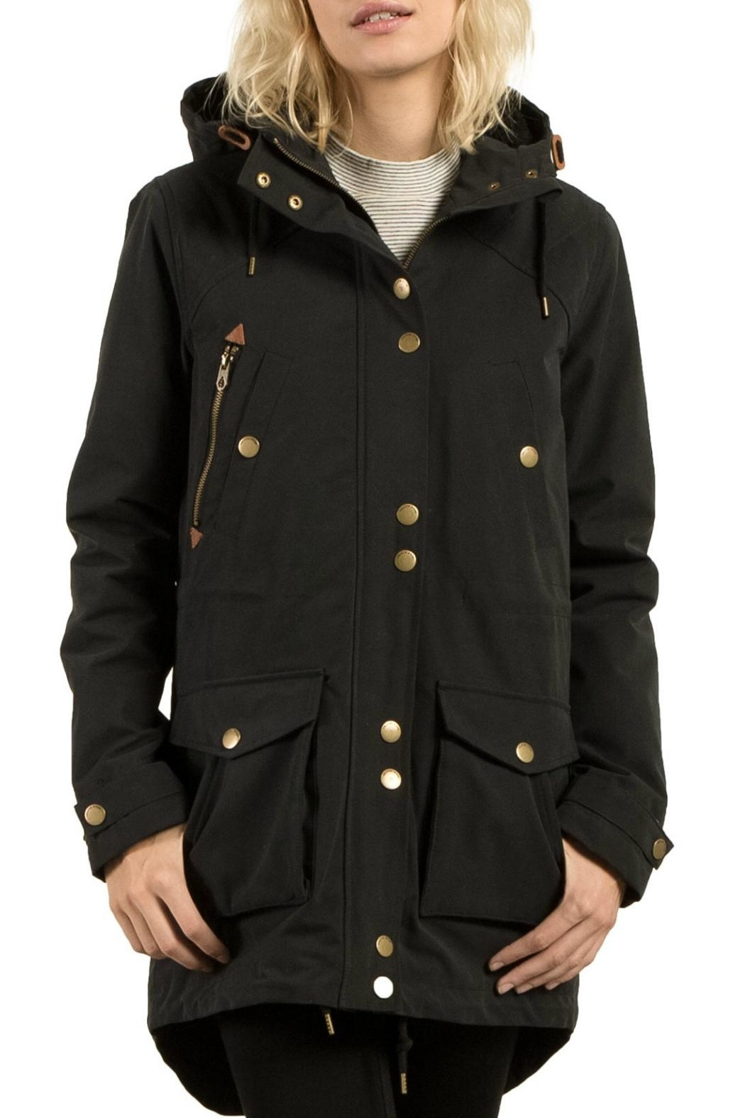 Cropped black parka jacket