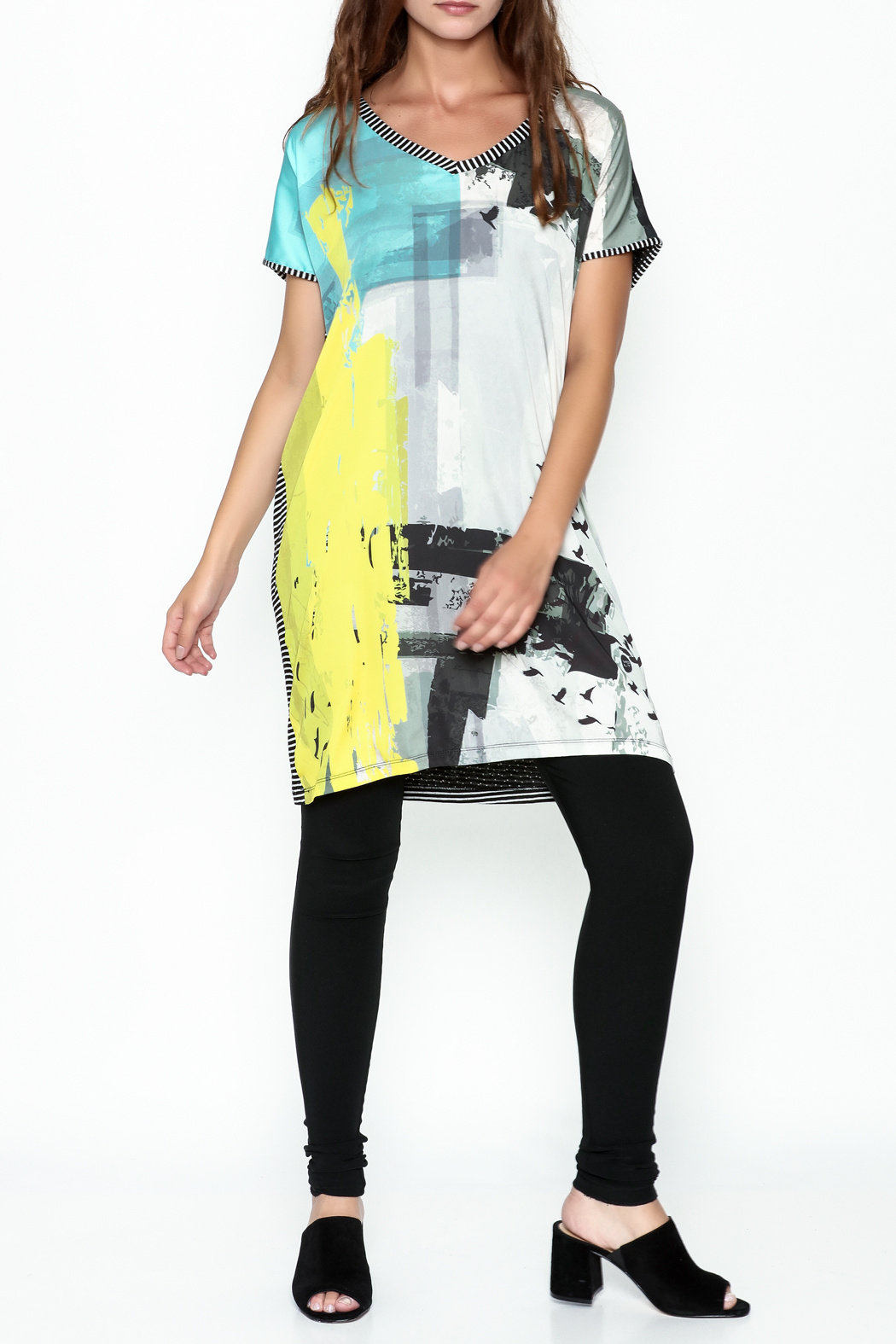 VOLT Design Striped T Shirt Dress - Side Cropped Image