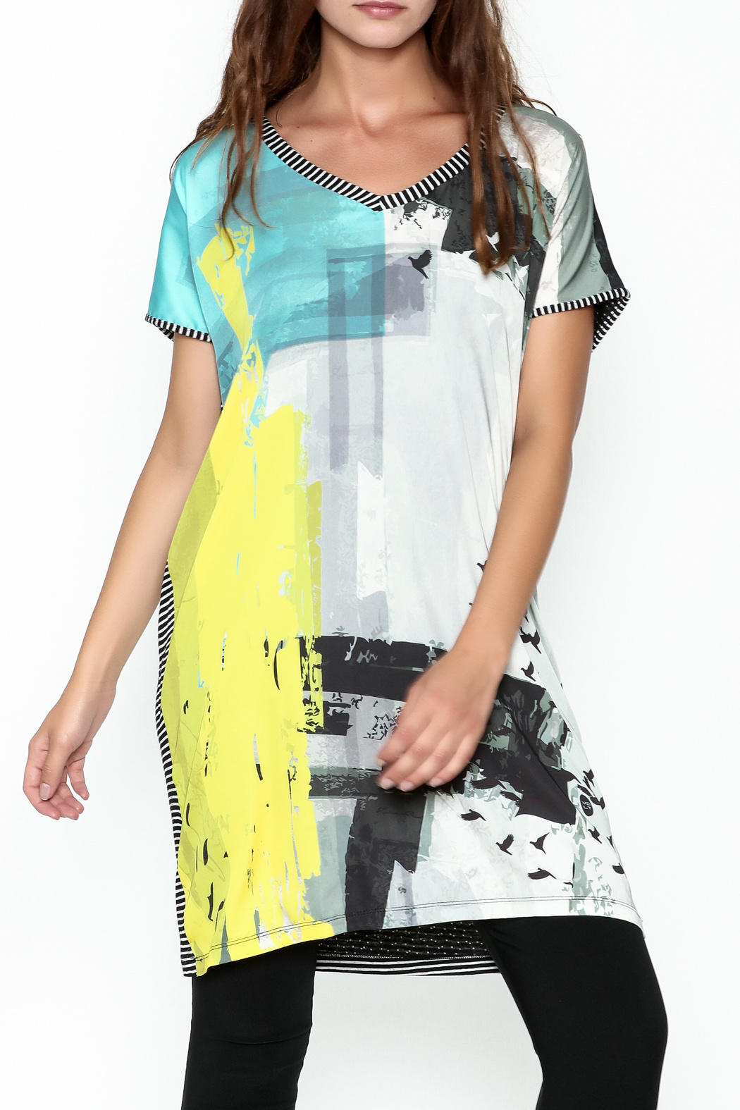 VOLT Design Striped T Shirt Dress - Front Full Image