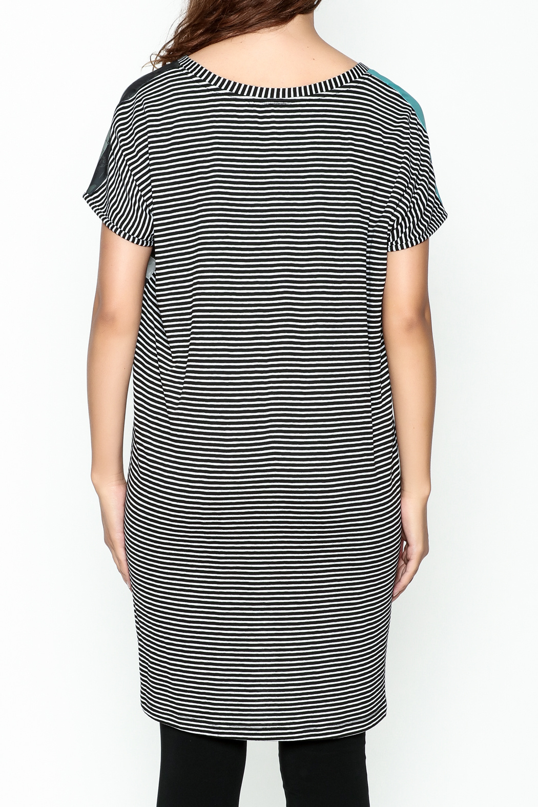 VOLT Design Striped T Shirt Dress - Front Cropped Image