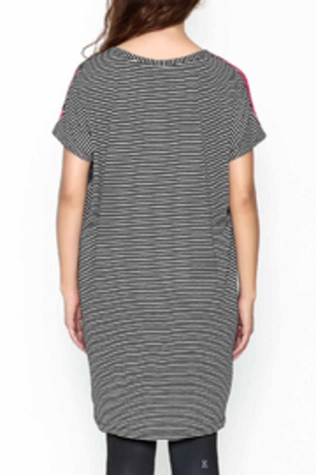 VOLT Design Striped T Shirt Dress - Back Cropped Image