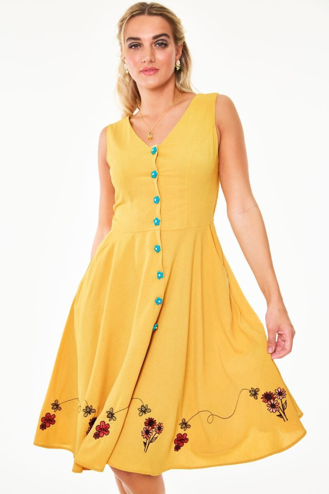 Voodoo Vixen Busy Bee Embroidered-Dress - Main Image