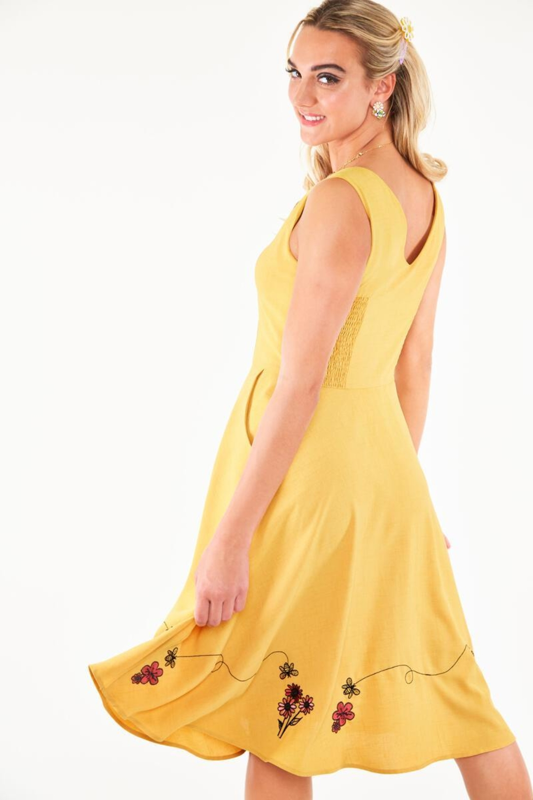 Voodoo Vixen Busy Bee Embroidered-Dress - Side Cropped Image