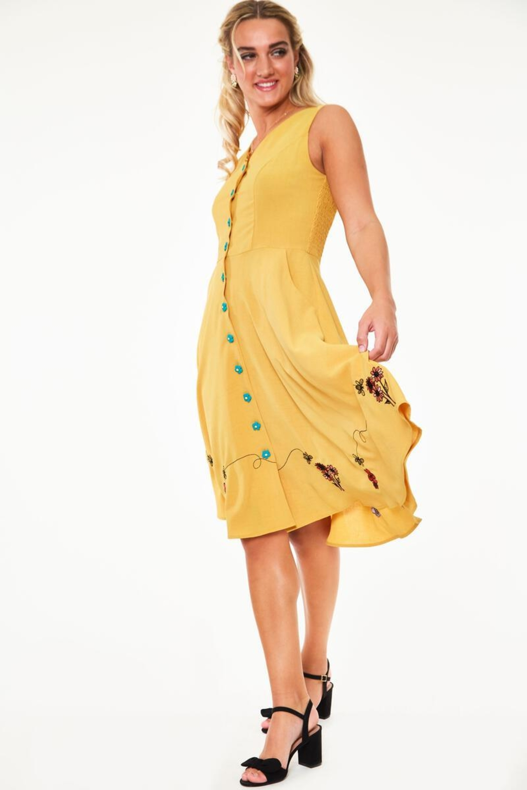 Voodoo Vixen Busy Bee Embroidered-Dress - Front Full Image