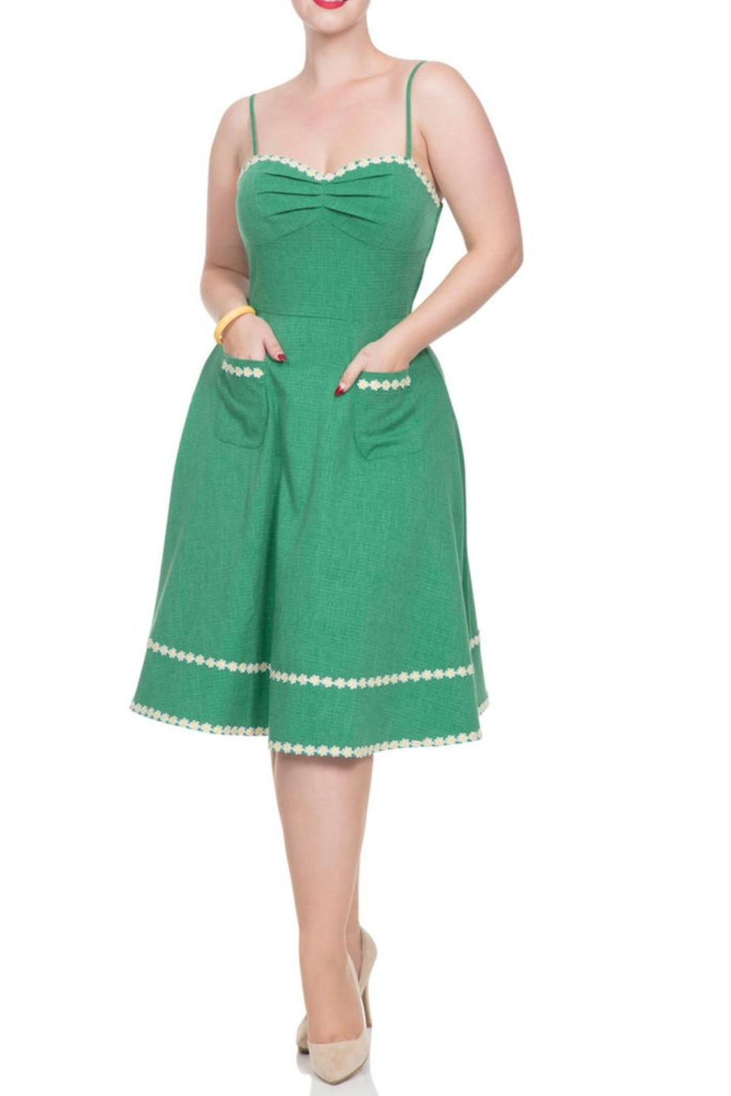 Voodoo Vixen Daisy Green Dress - Front Cropped Image