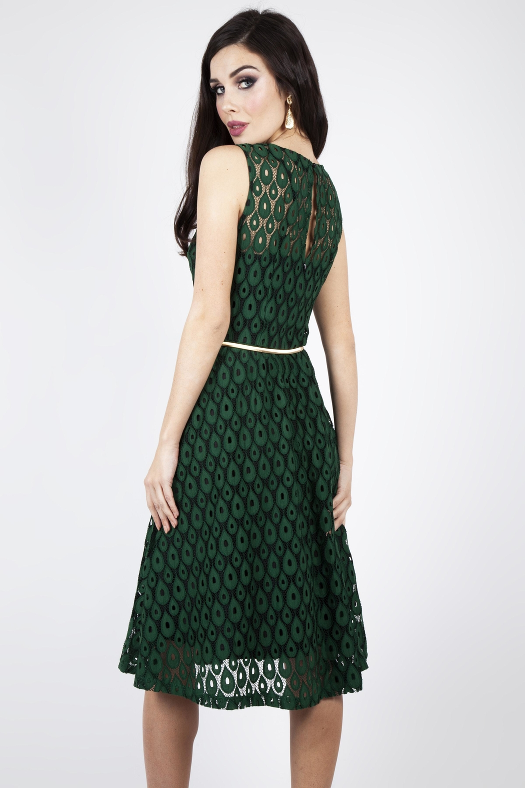 Voodoo Vixen Peacock Lace-Overlay Dress - Front Full Image