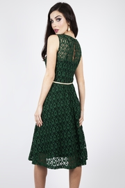 Voodoo Vixen Peacock Lace-Overlay Dress - Front full body