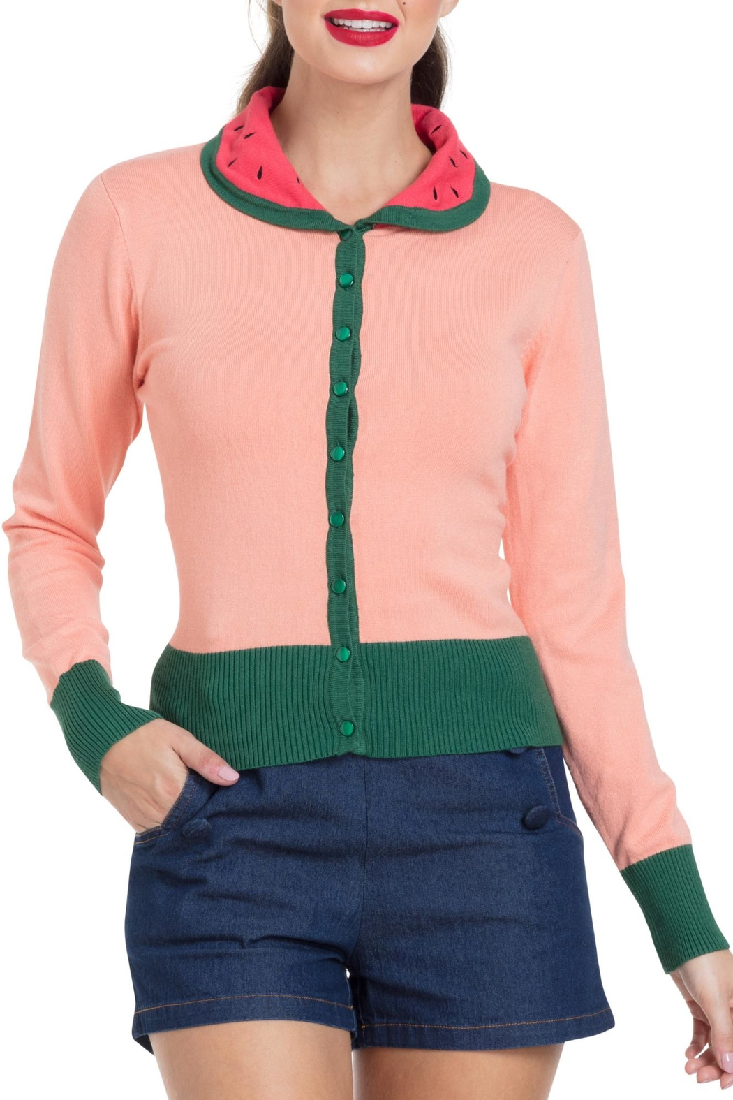 Voodoo Vixen Watermelon Cardigan - Front Cropped Image