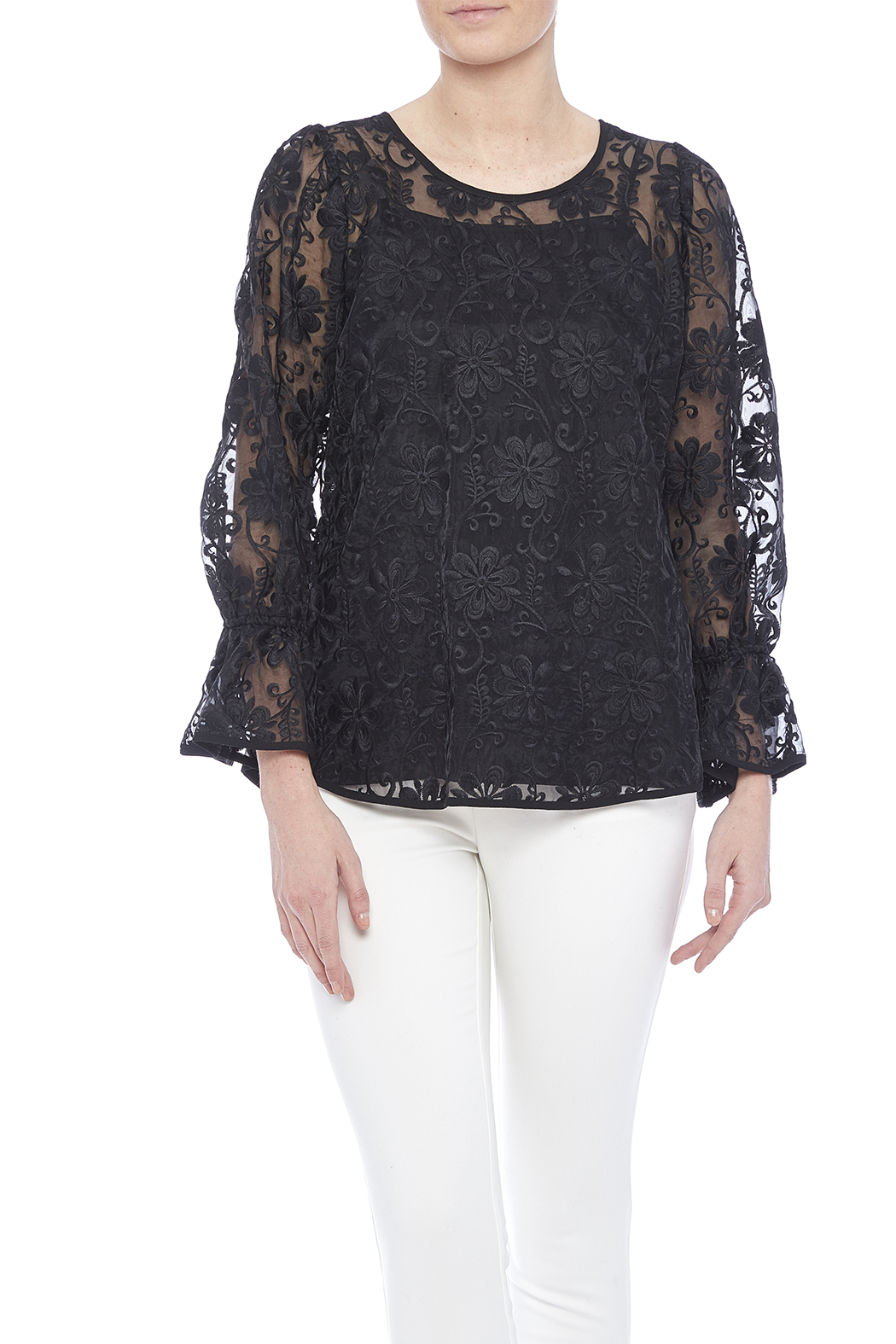 Voom Black Embroidered Top - Main Image