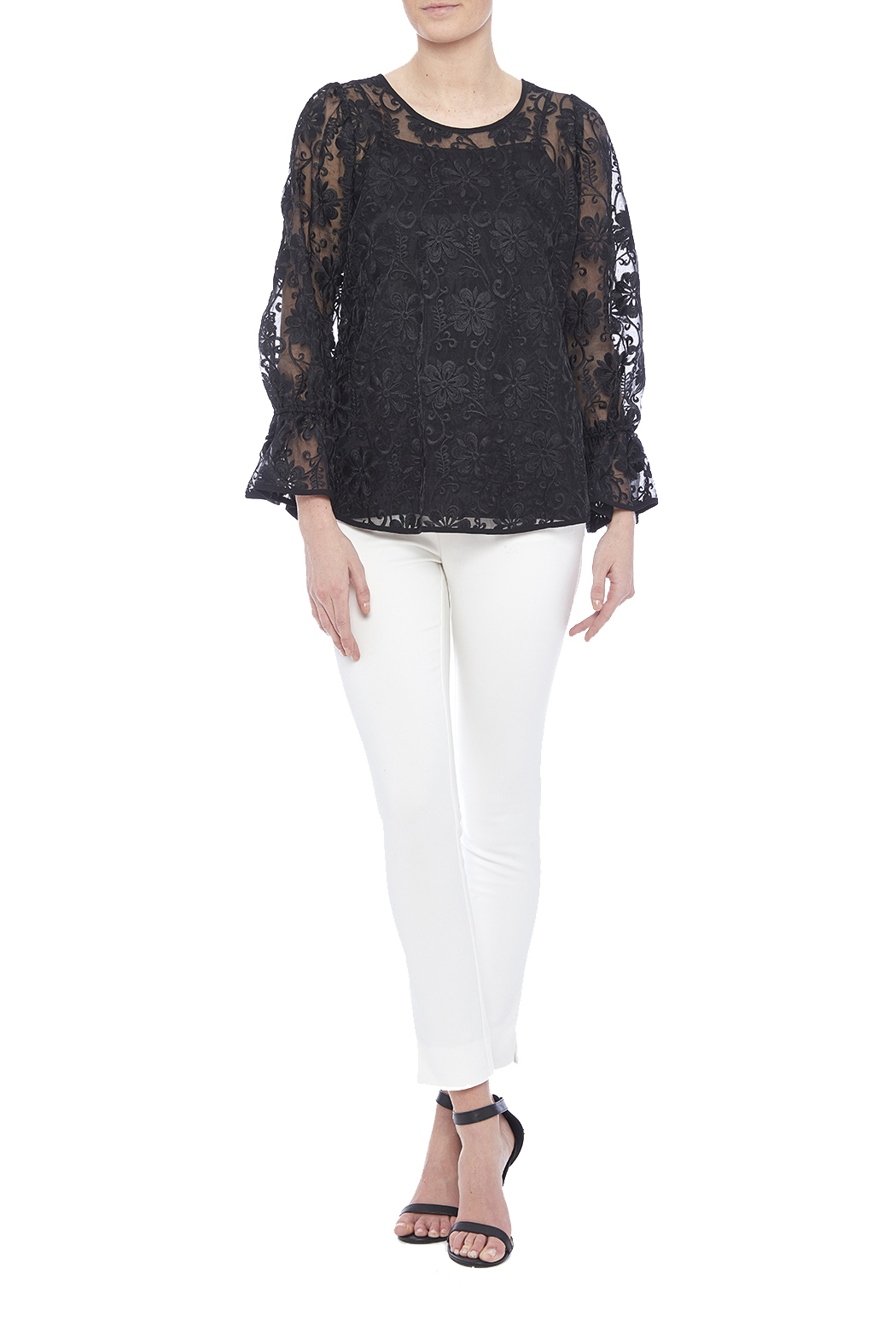 Voom Black Embroidered Top - Front Full Image