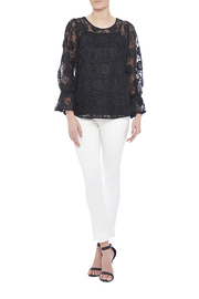 Voom Black Embroidered Top - Front full body