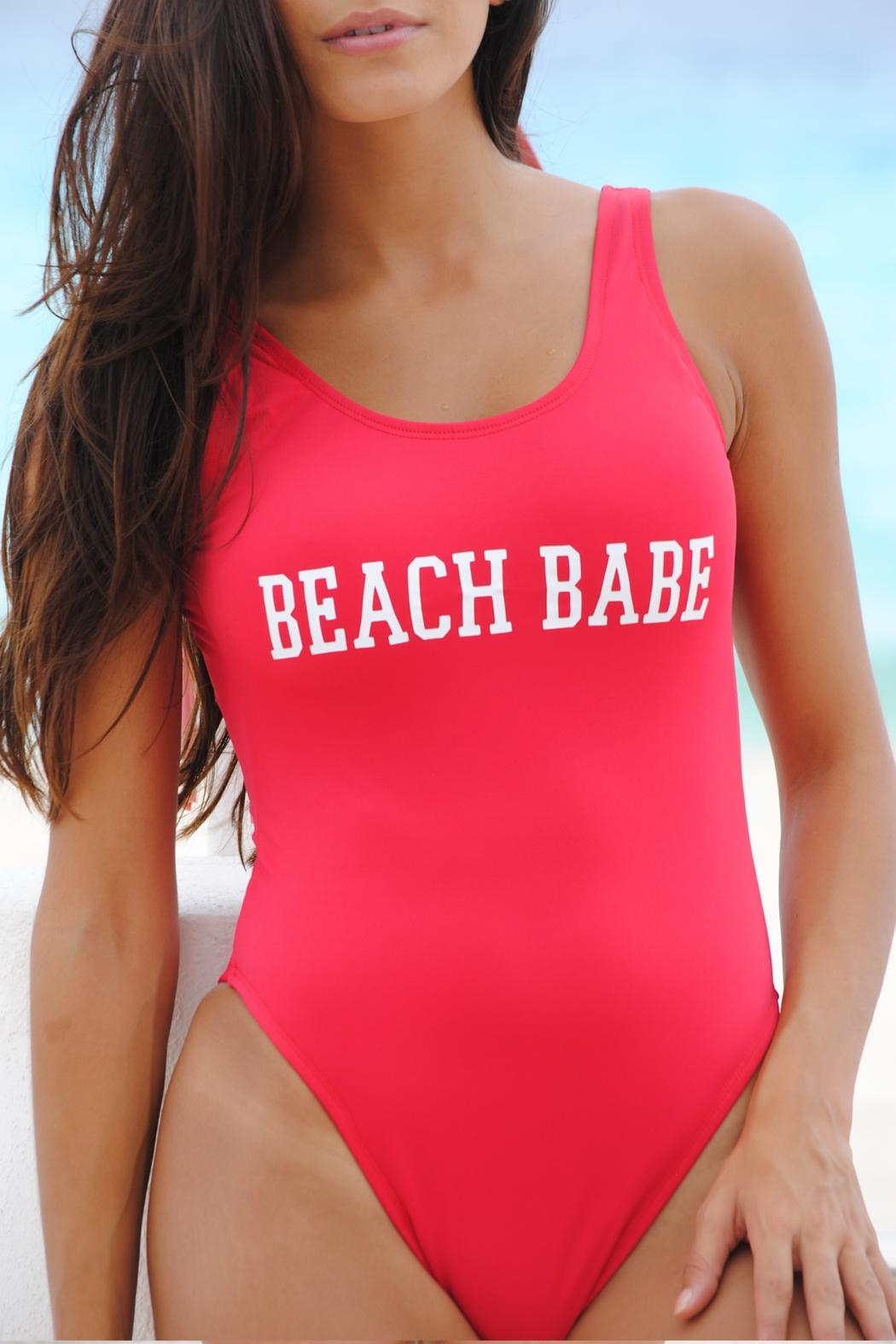 Vulcano Swimwear Wording Customized Swimsuit - Front Cropped Image