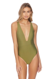 Vyb Olive Plunge One-Piece - Front cropped