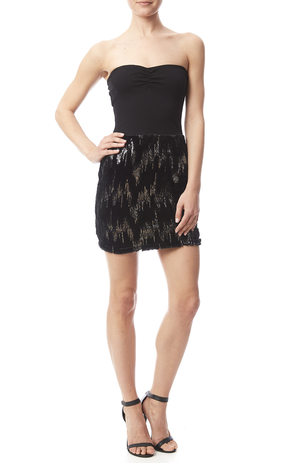 W by Wenjie Black Strapless Dress - Front Full Image