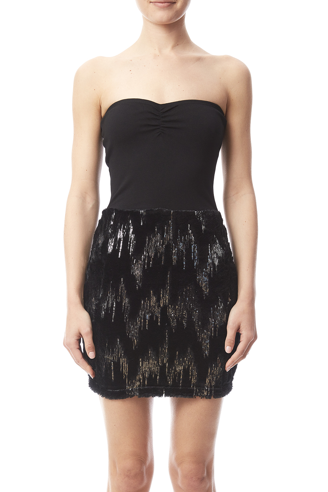 W by Wenjie Black Strapless Dress - Side Cropped Image