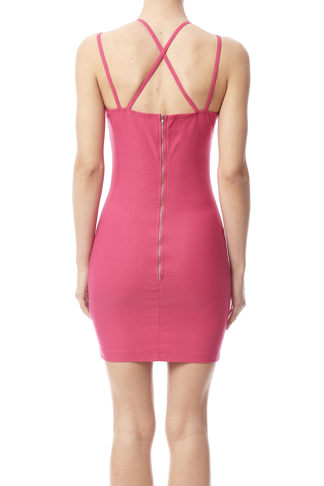 W by Wenjie Pink Cross-Back Dress - Back Cropped Image