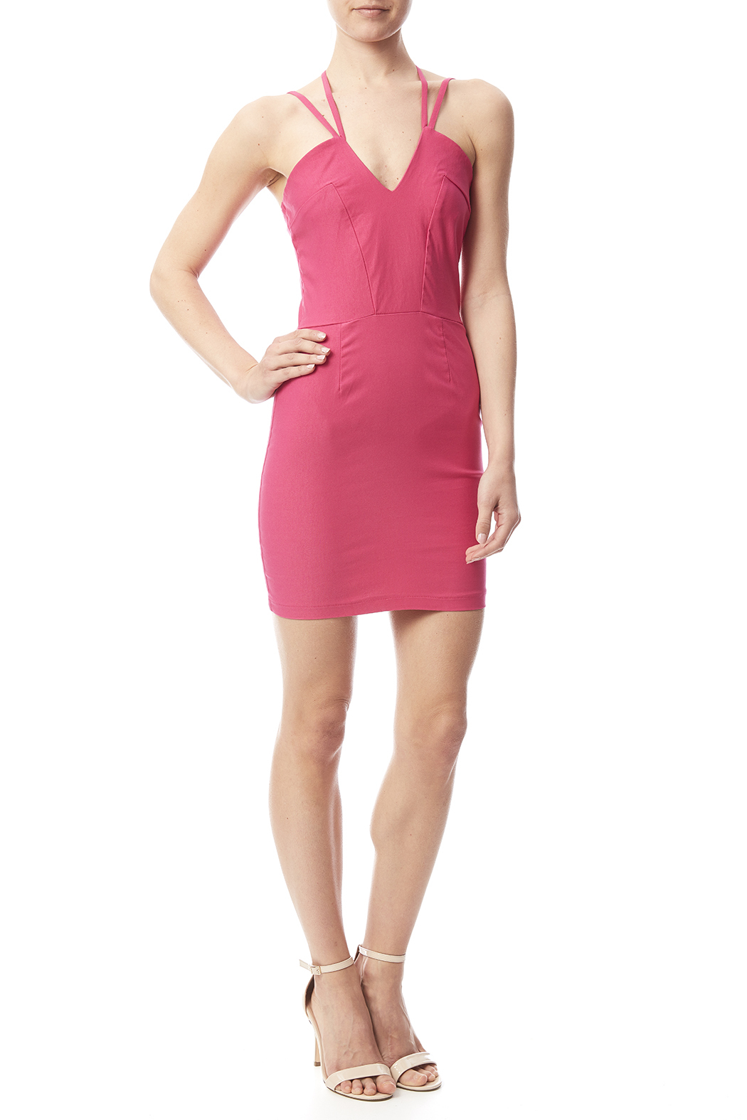W by Wenjie Pink Cross-Back Dress - Front Full Image