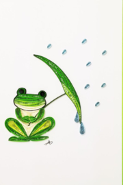 Iconic Quilling w247 Frog W/umbrella Card 5x7 - Product Mini Image