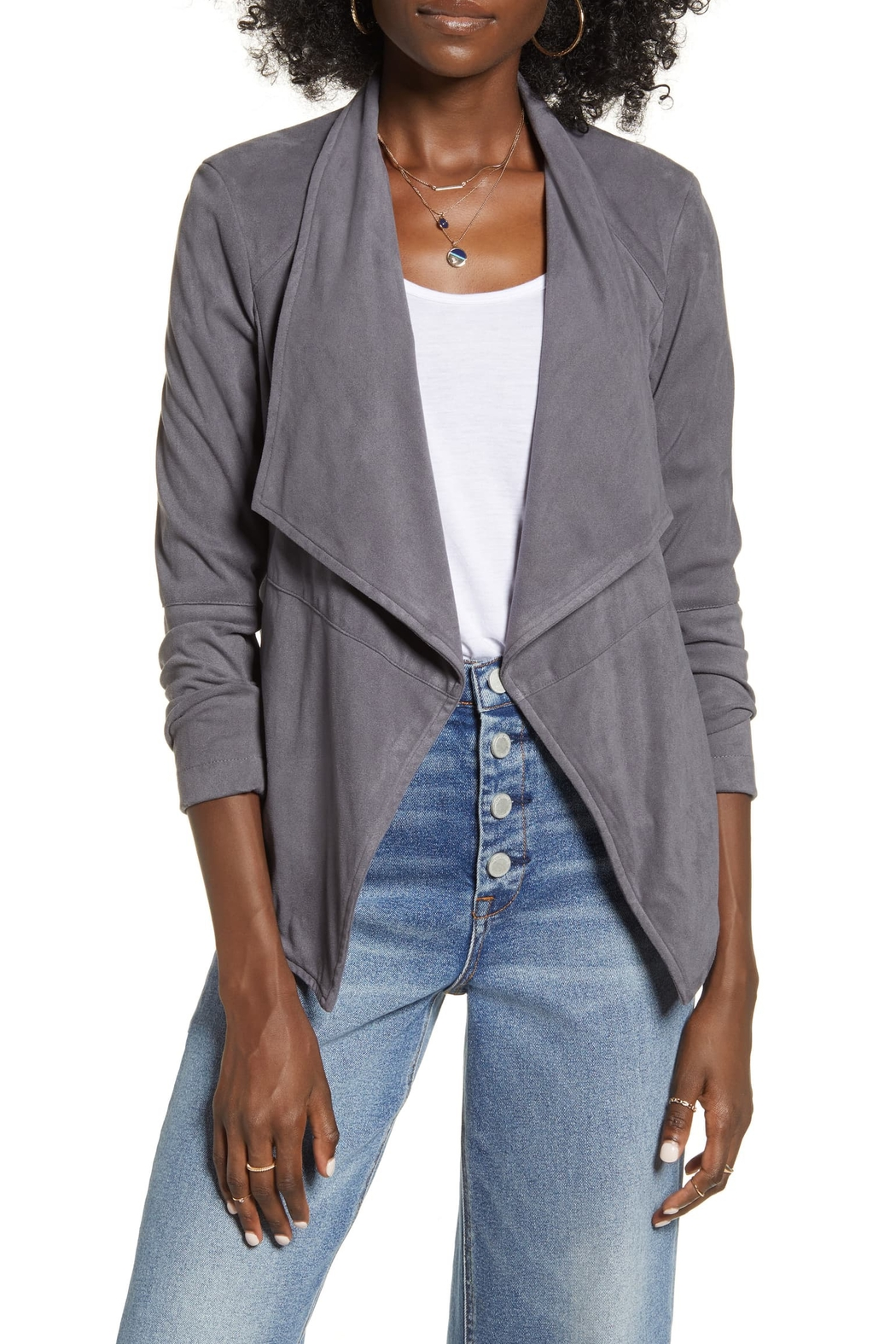 BB Dakota Wade Faux Suede Jacket - Front Cropped Image