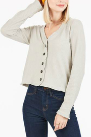 Very J Waffle button front top - Front cropped