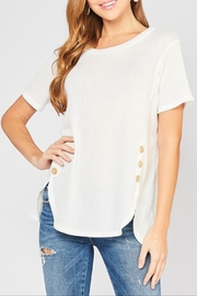 Entro Waffle Button Top - Front cropped