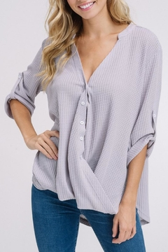 Listicle Waffle Buttoned Blouse - Product List Image