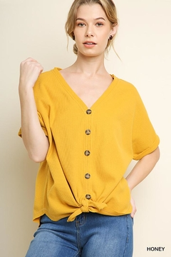 f3592d81ce5aa1 Shoptiques Product  Waffle Buttoned Top ...