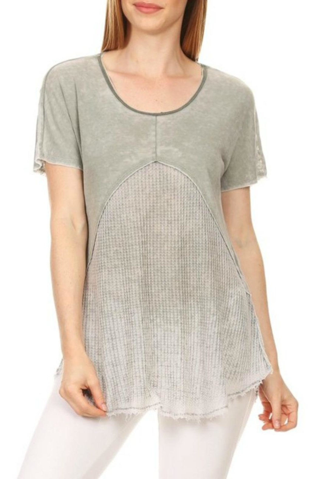 T-Party Fashion Waffle-Combo Swing Top - Side Cropped Image