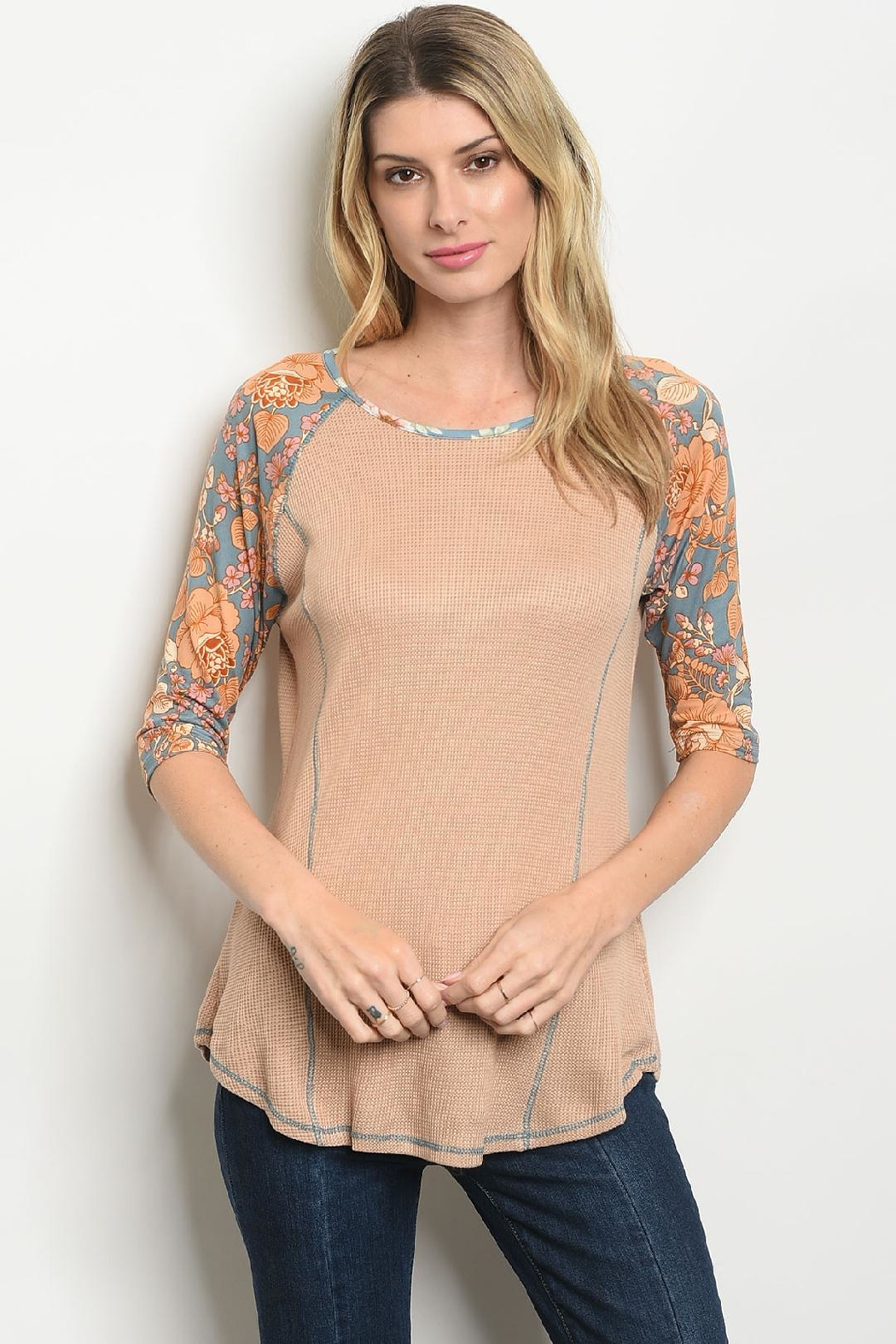 Orange Creek Waffle Floral Raglan - Front Cropped Image
