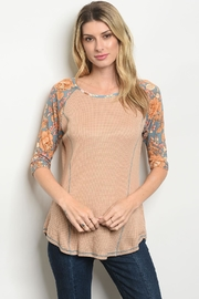 Orange Creek Waffle Floral Raglan - Front cropped