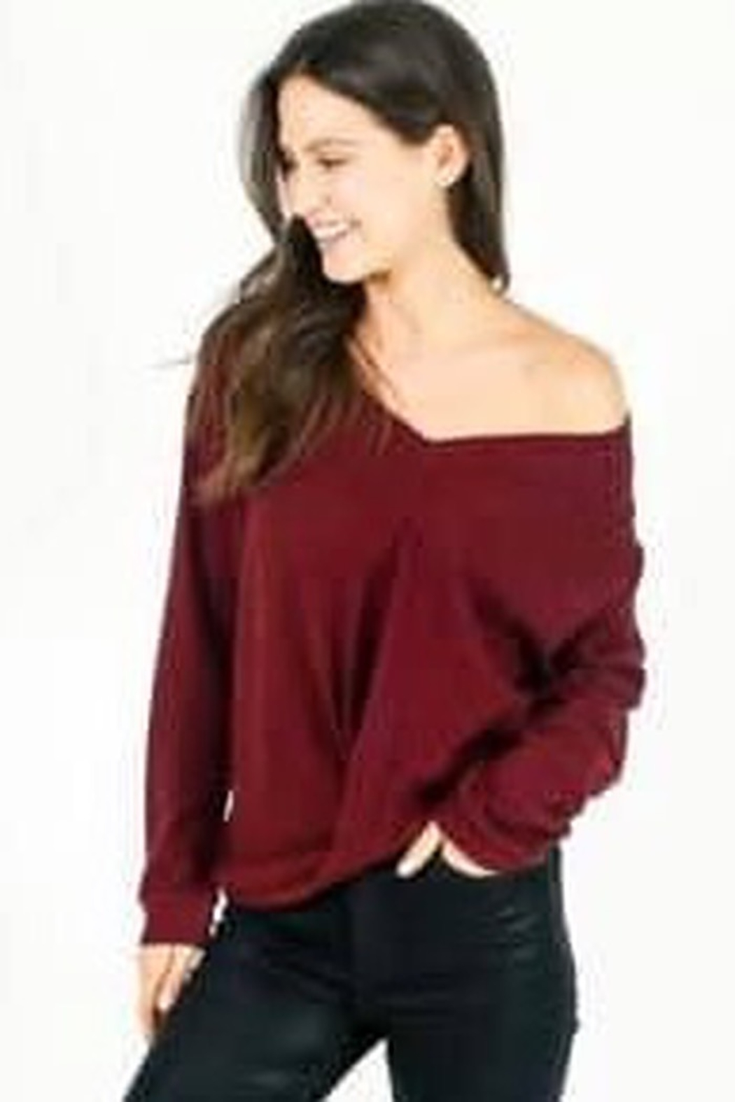 Six Fifty Waffle Hacci Front Knot Top - Front Cropped Image