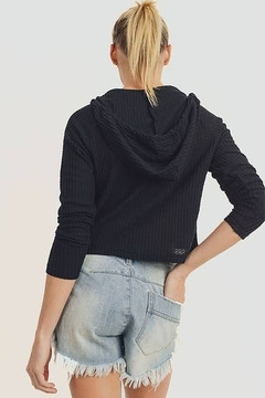 Mono B Waffle-Knit Crop Hoodie Pullover - Alternate List Image