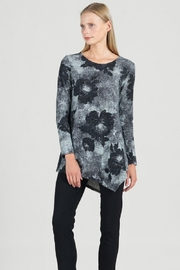 Clara Sunwoo Waffle Knit Floral Tweed Print Kerchief Angle Hem Sweater Tunic - Product Mini Image