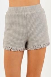 Very J  Waffle Knit Fringe Shorts - Product Mini Image