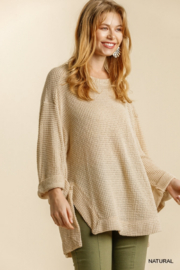 umgee  Waffle Knit Roll Sleeve Tunic - Product Mini Image