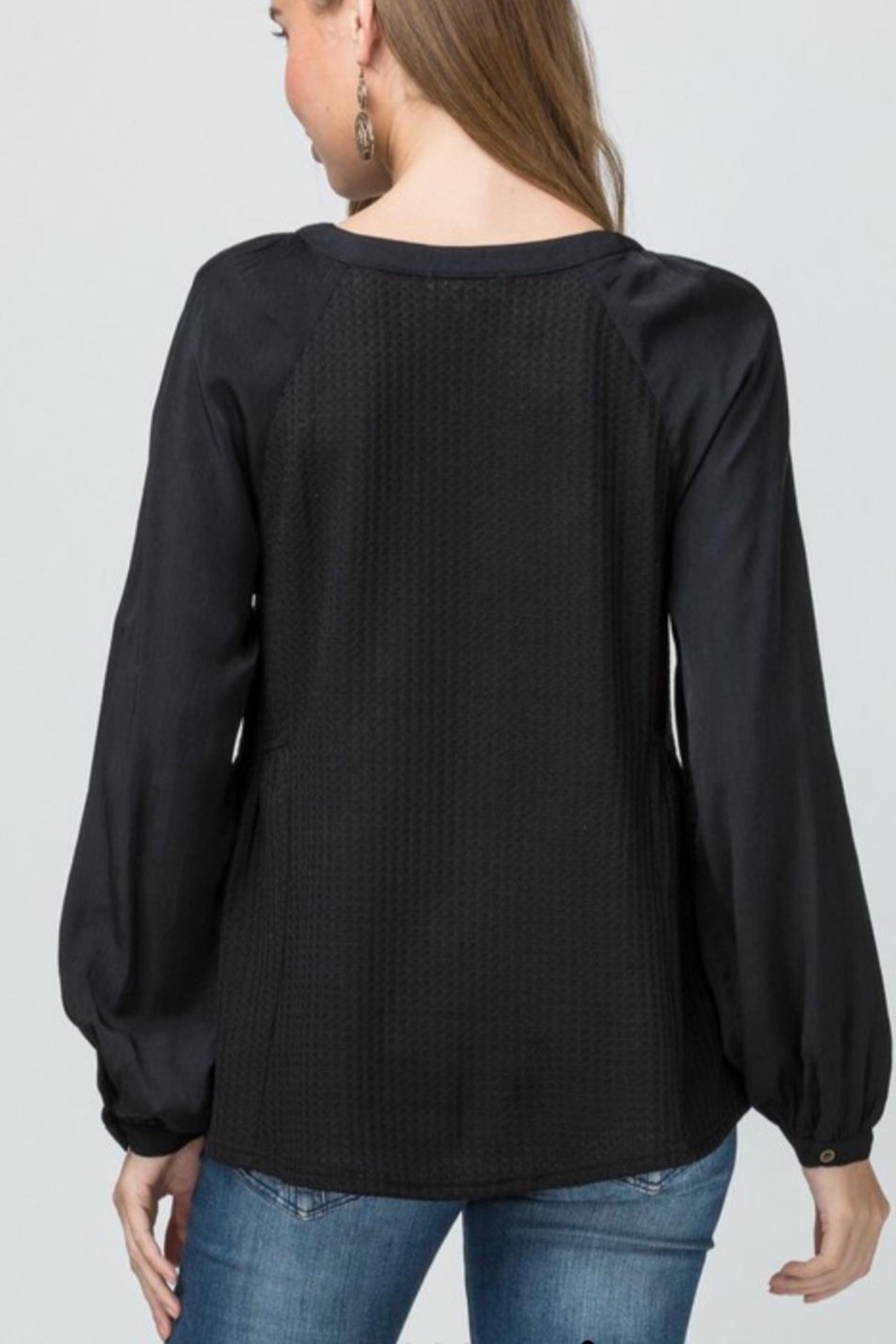 Entro Waffle Knit Scoop Neck Top - Front Full Image