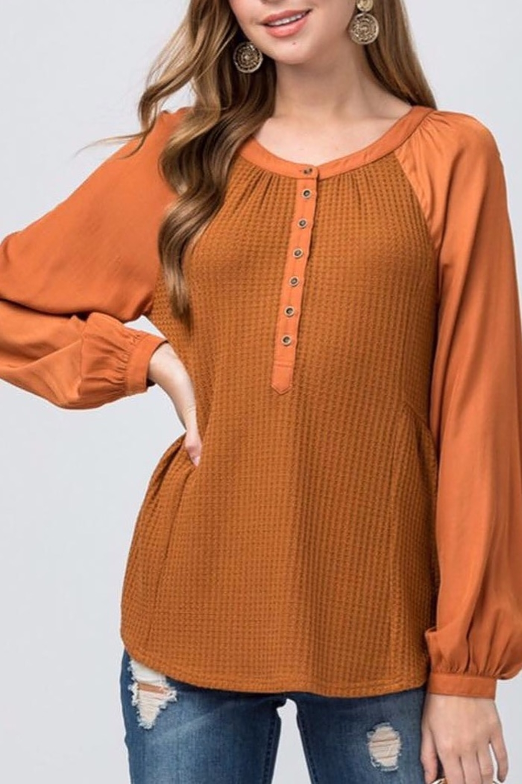 Entro Waffle Knit Scoop Neck Top - Main Image