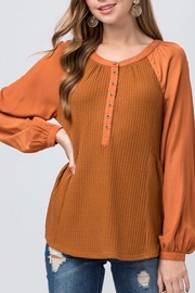 Entro Waffle Knit Scoop Neck Top - Product Mini Image