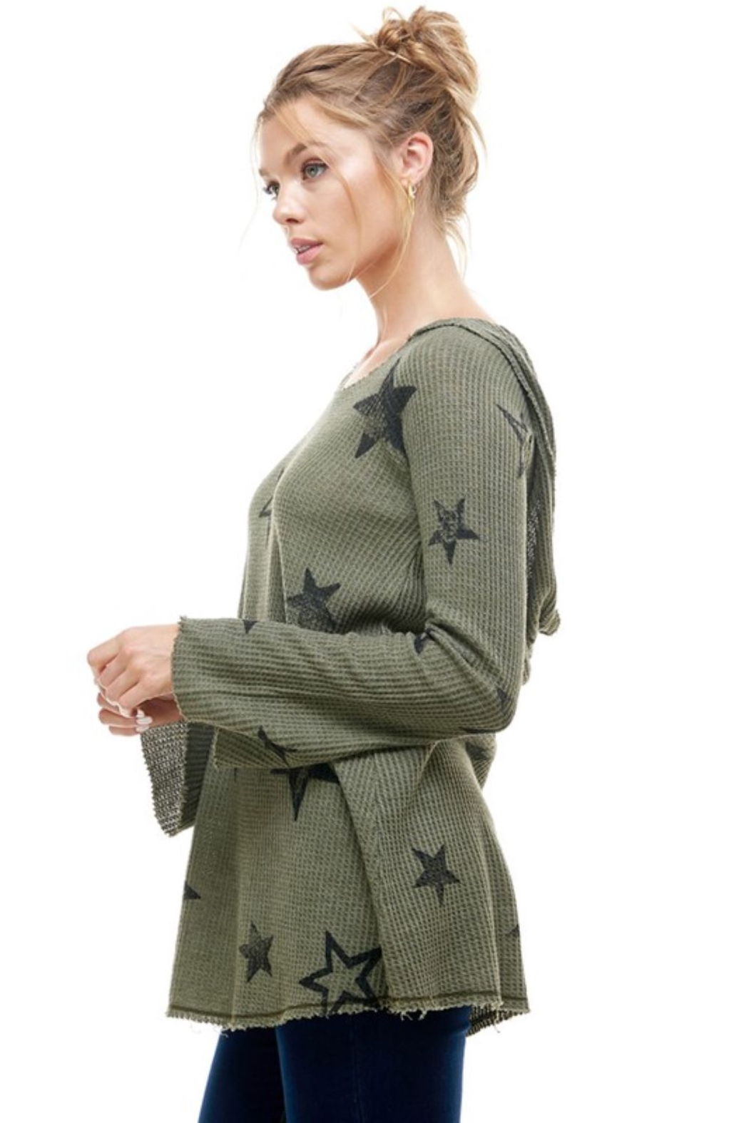 T Party Waffle Knit Star Print Hoodie - Front Full Image