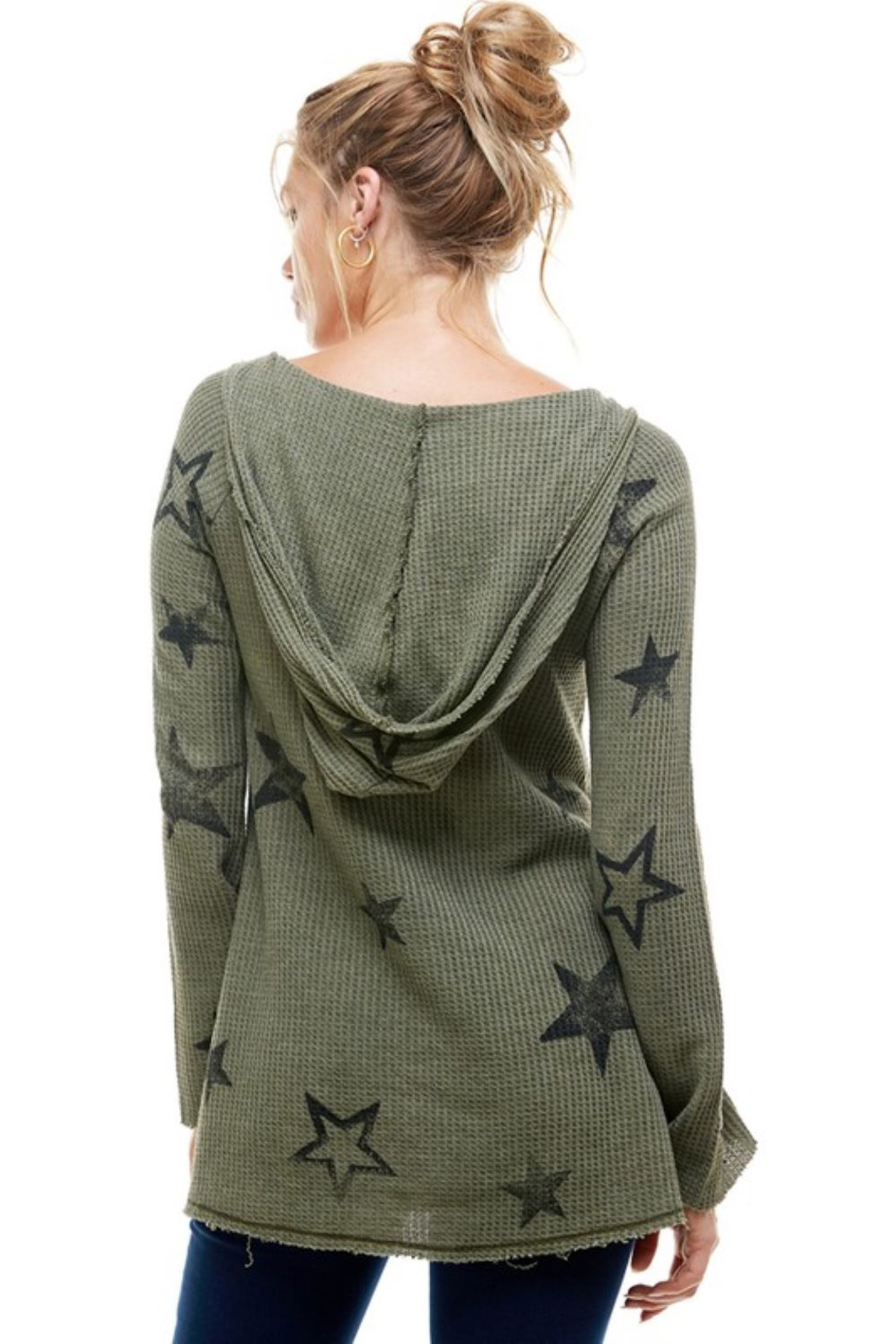 T Party Waffle Knit Star Print Hoodie - Side Cropped Image